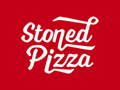 Stoned Pizza red branding food pizza wordmark typography logo