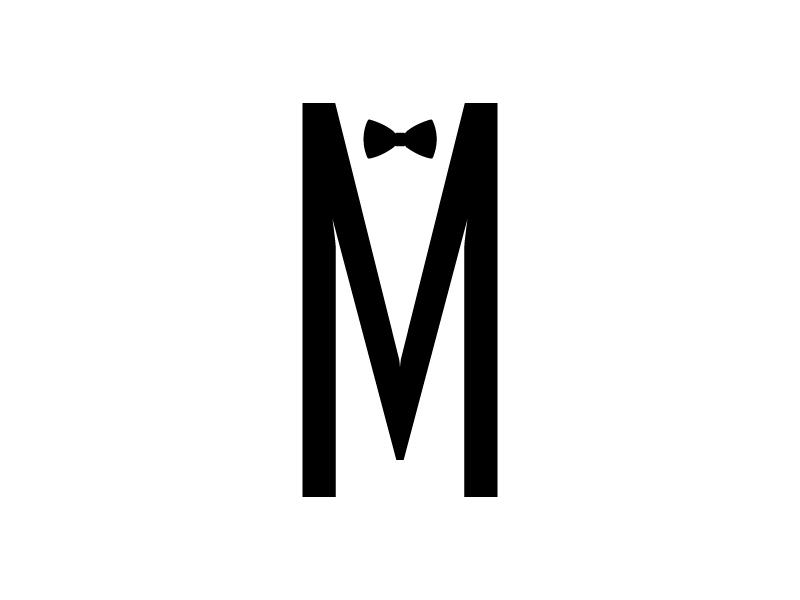 M Groom elegant simple formal bow tie fun typography type groom wedding