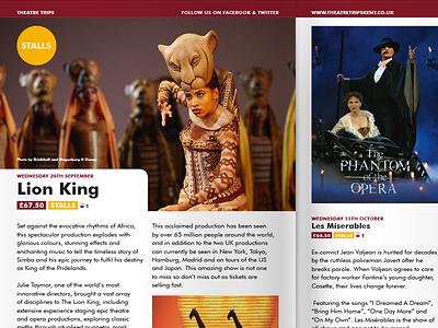 Theatre Trips Programme trips broadway westend show brochure booklet guide theatre programme