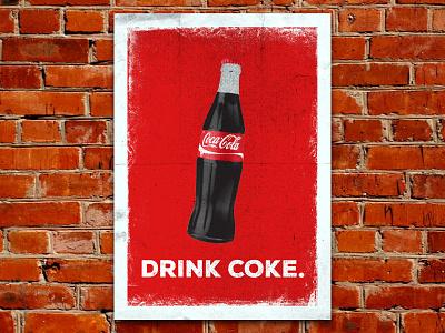 Coke Poster print halftone old vintage poster branding coca cola coke retro