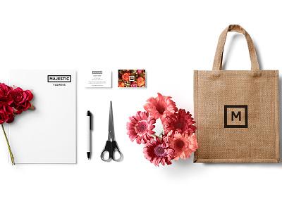 Majestic stationery bag mockup flowers florist logo branding tbt