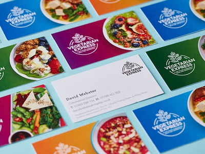 Vegetarian Express Business Cards stationery brand and identity food and drink foodservice food vegetarian