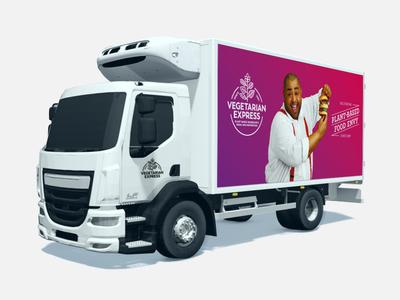 Vegetarian Express - Van Livery delivery food  drink visual  identity branding livery van vegetarian foodservice