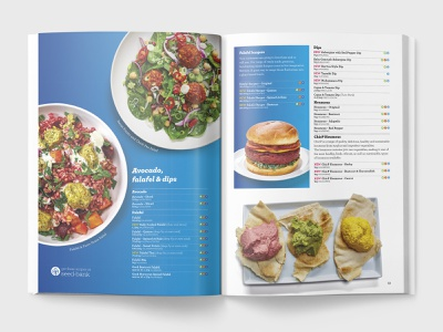 Falafel catalog guide product layout spread food design brochure