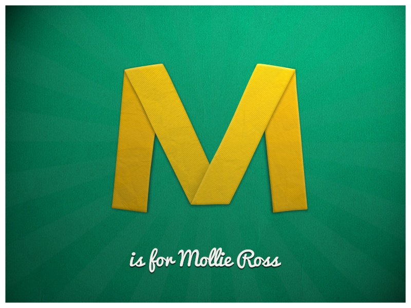 M is for Mollie Ross folded m texture origami paper photoshop letter typography yellow