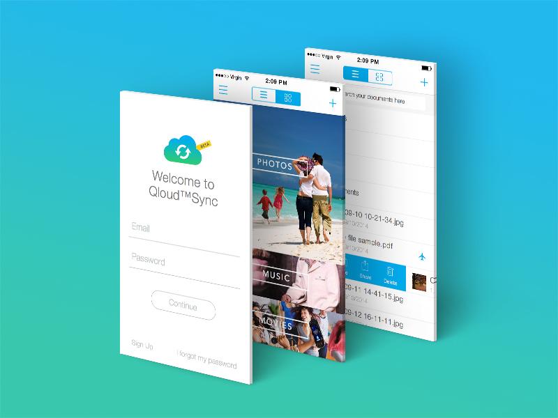 Qloud™Sync App Mockup qloud app sync iphone mockup apple ios flat
