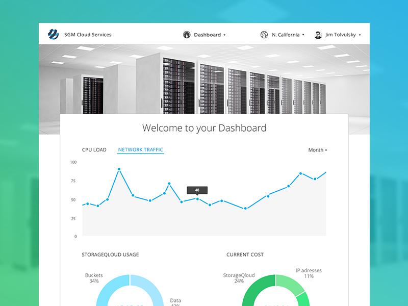 Cloud Services Dashboard Panel dashboard webdesign app web clean ui ux desktop mockup