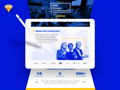 Landing page mockup • Freebie Sketch web ux ui template sketch page landing interface freebie free conference