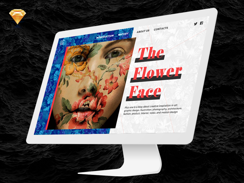 The Flower Face – Landing page mockup • FREEBIE