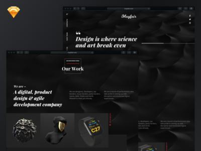 Design studio mockup template • FREE SKETCH website black dark sketch free mockup ux ui