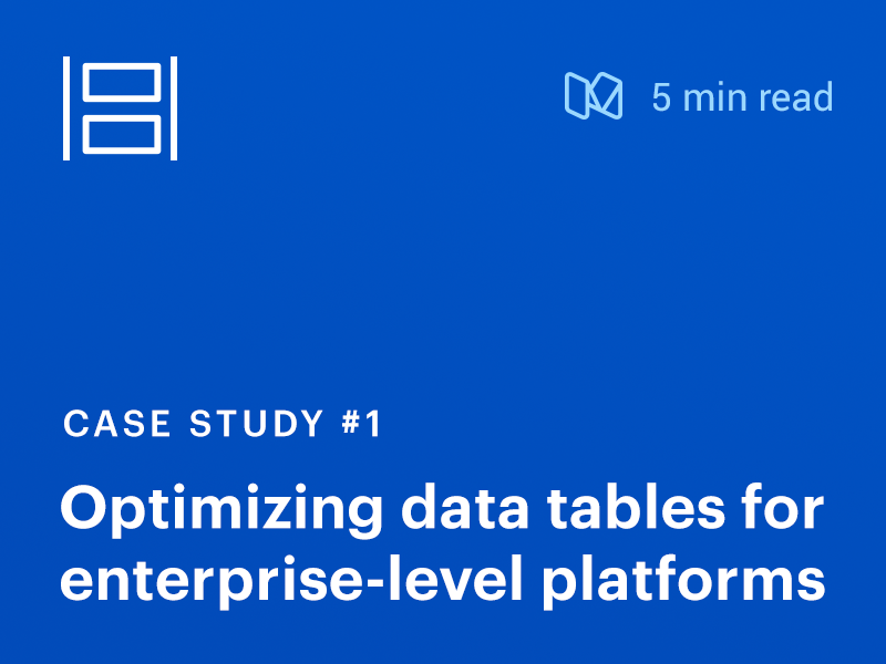 Case Study: Optimizing data tables