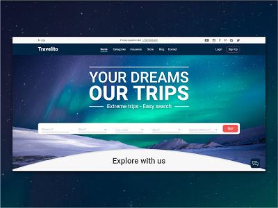 Travelito ux ui trips homepage design travel branding graphic design creative adobe