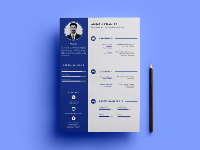 Single Page Resume Design blue adobeillustrator singlepage resume