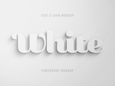 Free White 3D Text and Logo Effect shadow 3d clay logo design text effect text typography template photoshop mockup psd download freebie free blog thedesignest