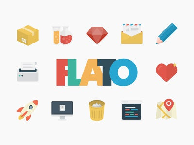 Flato Free Vector Icon Set design thedesignest map startup rocket box set icon flat vector svg psd icons freebie free