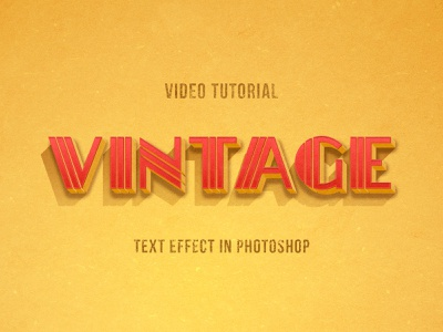 New Tutorial: Vintage Photoshop Text Effect in American Style smart layer action typography style layer effect text ad old school retro vintage tutorial video blog design thedesignest