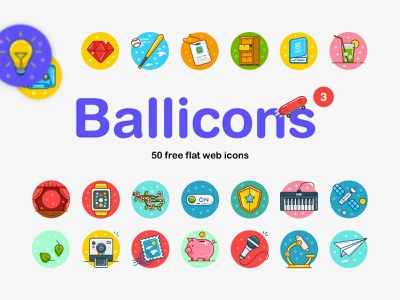 Ballicons 3: 50 free flat web icons ux ui web icons flat vector svg eps ai psd download design freebie free blog thedesignest