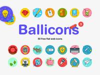 Ballicons 3: 50 free flat web icons