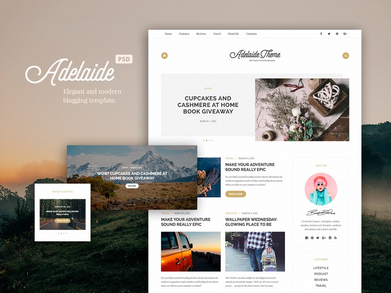 Adelaida Free Blog Template white minimal neat clean layout template ux ui the designest photoshop psd download psd freebie free