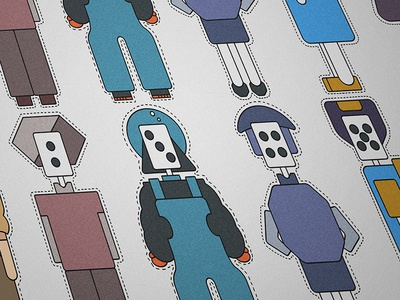One by one ant line grey purple blue black mahjong robot practice sticker illustration