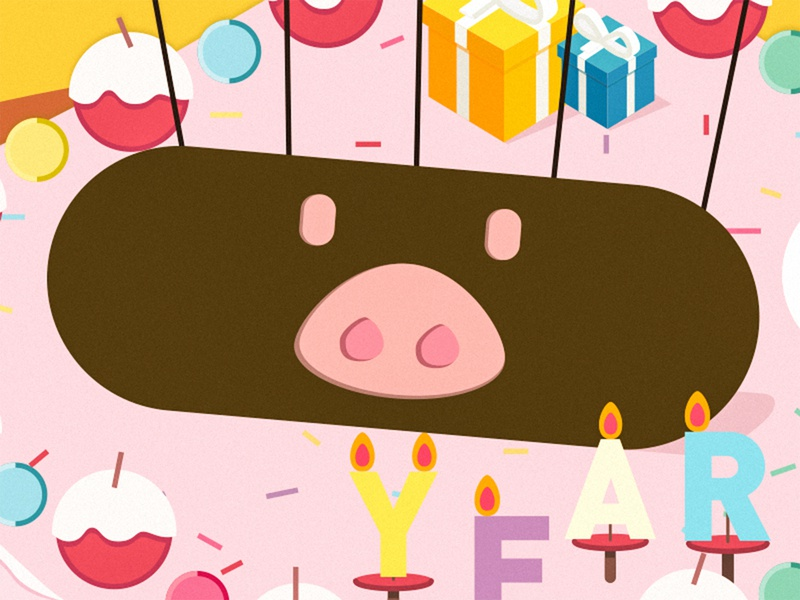 pig fruit pink chocolate gift cake candle illustration new years 2019 pig