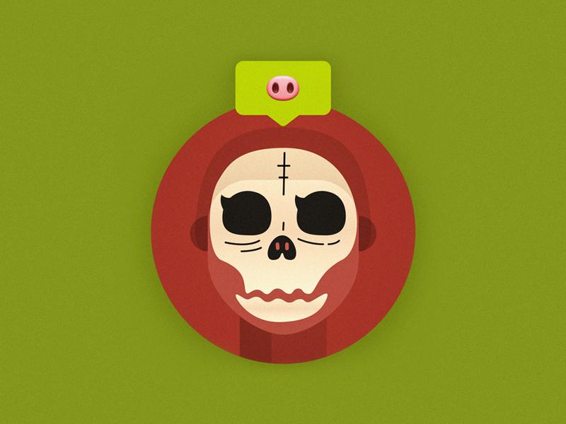 Avatar shantou red green huoma pig illustration avatar new year