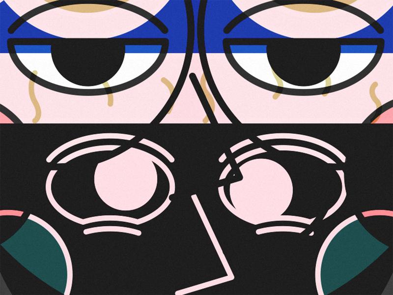 8 2x line eye black expression couple illustration avatar