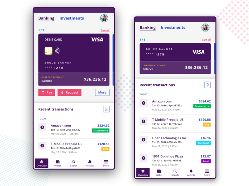 Mobile Banking & Investments: Banking Overview fintech app fintech wallet overview security paying money design transactions card investment banking mobile app adobexd app design ux concept