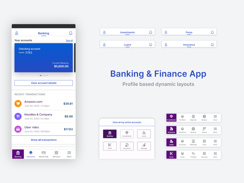 Banking & Finance App: Navigation layout product design product strategy content strategy dynamic app layouts mobile navigation fintech finance banking exploration adobexd concept app design ux