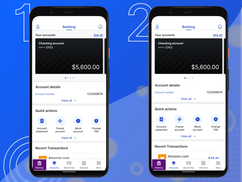 Banking & Finance App: Banking Home Screen layout design product design fintech finance recent transactions account details dynamic app layouts home screen mobile app exploration adobexd app design ux