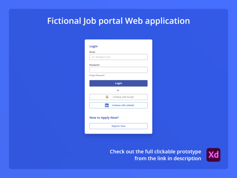 Signup flow: Fictional Job portal prototype ui minimal signup sign in job portal product design web app design web app exploration design adobexd ux concept
