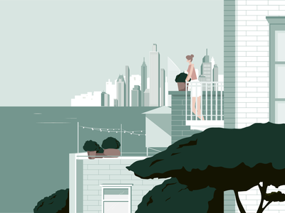 Left behind, Breathe UK, 2019 new york lonely loneliness alone ocean woman cityscape city editorial illustration editorial illustration digital
