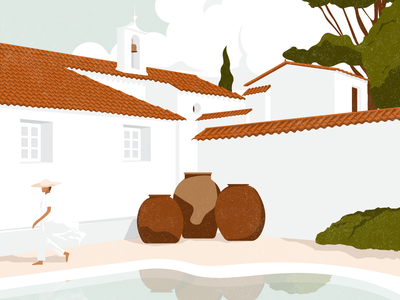 Hacienda del Sol mexico latin postcard vacation holiday travel illustration travel white summertime summer pool architectural architecture mediterranean spain spanish editorial illustration editorial illustration digital