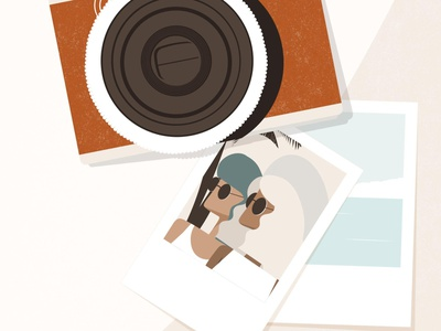 Polaroids woman travel polaroid photos vacation friendship friends holiday summer editorial illustration editorial illustration digital