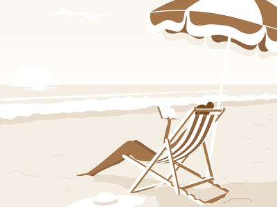 Sandy editorial woman reading relaxing ocean sea beach seaside travel vacation holiday summer illustration digital