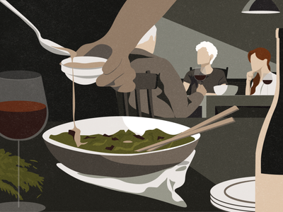 The Michaels kitchen cooking the new yorker party dinner editorial illustration editorial illustration digital