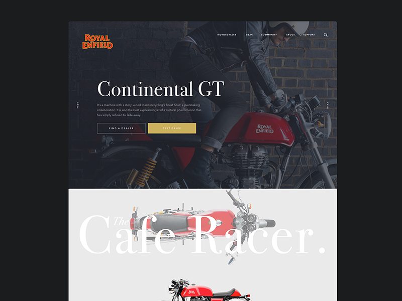 Royal Enfield Redesign classic enfield royal website modern cafe racer motorcycle landing page webdesign ux ui