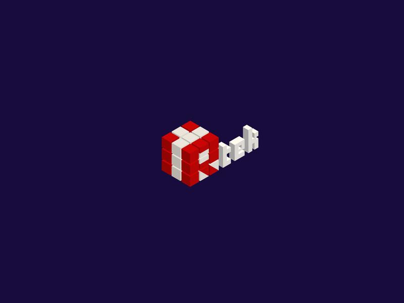 Logo Design for iRtek modern logo technology tech white 3d art infrared font branding vector design rubiks cube cube logo 2d