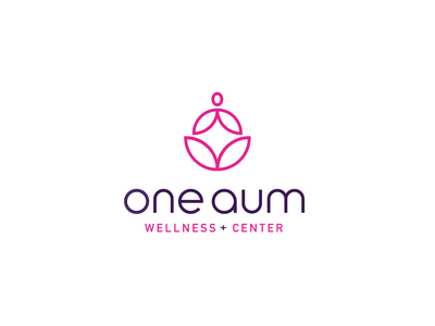 One Aum dots fitness pink purple typogaphy illustration yoga flower lotus vector motion graphics after affects gif 2d animation logo