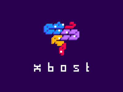 XOBOST instagram red yellow purple cube logo cube snake animal design font vector branding brand identity game 2d typography logo