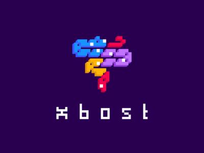 XOBOST instagram red yellow purple cube logo cube snake animal design font vector branding brand identity game 2d typography logo