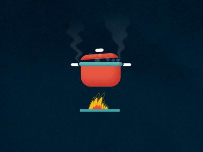 Pro Home Cooking blue brand identity design icon vegetables orange texture pan fire cooking vector font typography illustration after affects motion graphics gif animation logo 2d