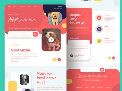 Pet adoption website design - Figma petlove concept minimal branding design uxdesign uidesign dailyui design
