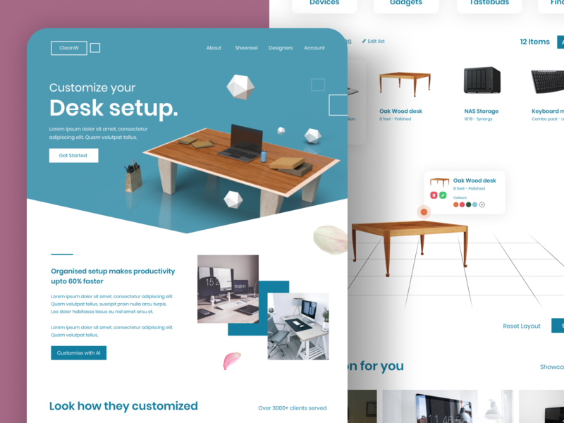Online desk setup preview identity high fidelity furniture setup desktop illustration adobe ux shots branding design design minimal