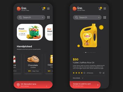 Dark theme groceries online shopping app