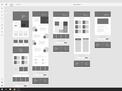 Website wireframe Adobe XD