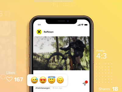 Social Media Campaign – Interaction/Visualisation/Posting design motion design engagement rate impressions follower comments shares likes emojis mountainbike bike iphone posting interaction campaign pixelart media social animation