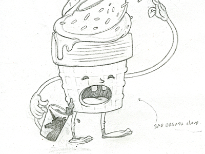 Mr. Frostee ice cream illustration frostee sketch