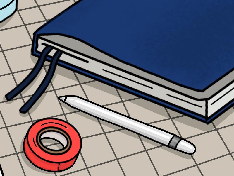 Desk Series (3/3) illustration notebook washi tape procreate apple pencil desk