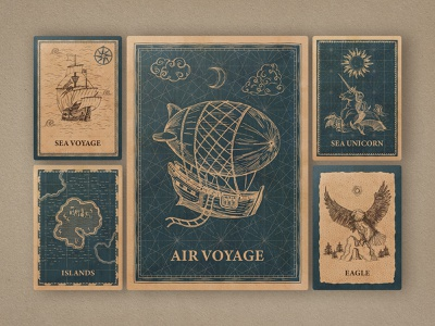 Magic Lands: Vintage Map Creator vintage map generator creator nautical vector fantasy pirate clipart authentic pattern brushes border ship island compass navigation antique water sky